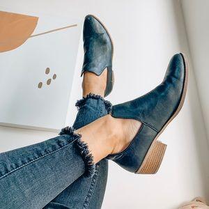 Black ankle peep boots